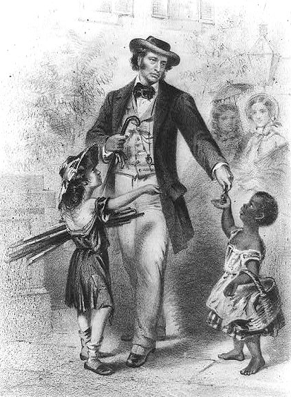 Artist questions Charles Sumner's sincerity as a humanitarian, portraying him as ignoring the poor white child while favoring the young black child.