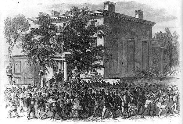 President Lincoln visiting the late residence of Jefferson Davis in Richmond, Va.