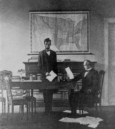 Abraham Lincoln and Salmon P. Chase Conferring About the National Bank Act of 1863