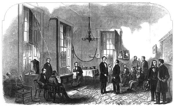 President-elect Lincoln Receiving Visitors in the Illinois State Capitol