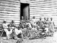 Group of contraband at Follers House, Cumberland Landing, Va., May 1862