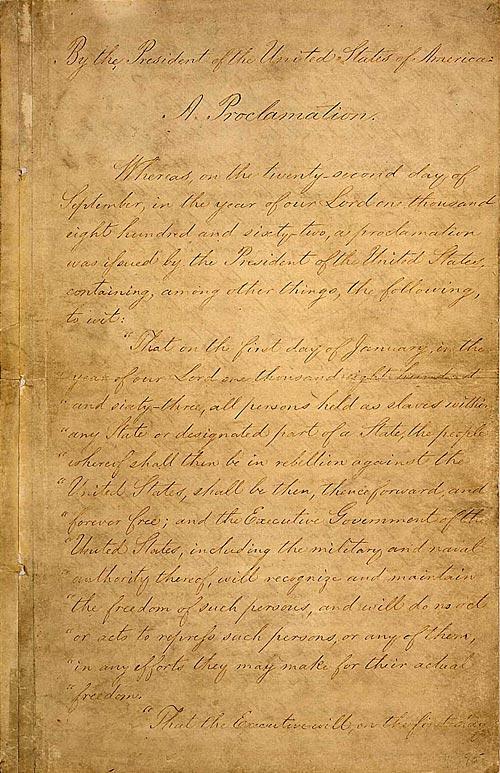 Manuscript of the Final Emancipation Proclamation, Page 1