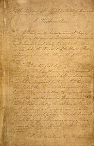 Manuscript of the Final Emancipation Proclamation, Page 1