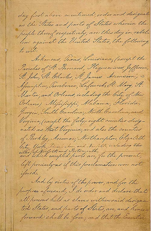 Manuscript of the Final Emancipation Proclamation, Page 3