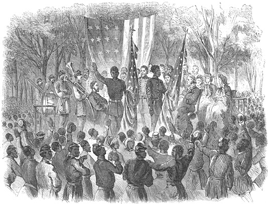 Emancipation Day in South Carolina, the Color-Sergeant of the 1st South Carolina Volunteers addressing the Regiment