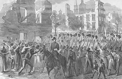 The Fifty-fifth Massachusetts Colored Regiment singing John Brown's March in the streets of Charleston, February 21, 1865
