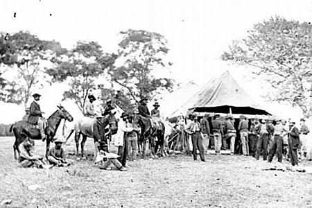 Soldiers filling canteens at Fredericksburg, Va.