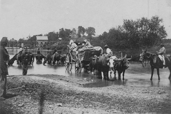 Wagon fording the Rappahannock River