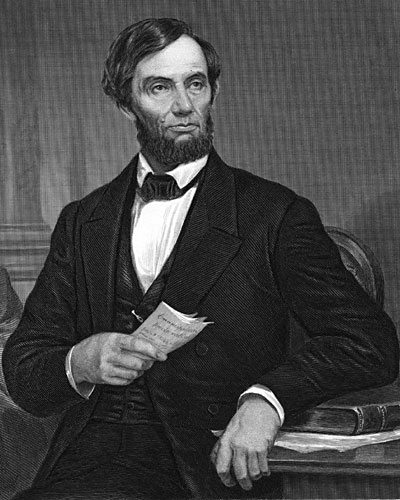Abraham Lincoln holding the Emancipation Proclamation