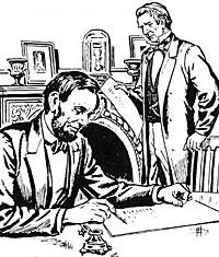 Lincoln drafting the Emancipation Proclamation