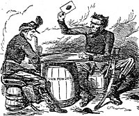 Pro-south cartoon depicting Lincoln and Davis playing cards, with Lincoln's document being the president's last desperate card
