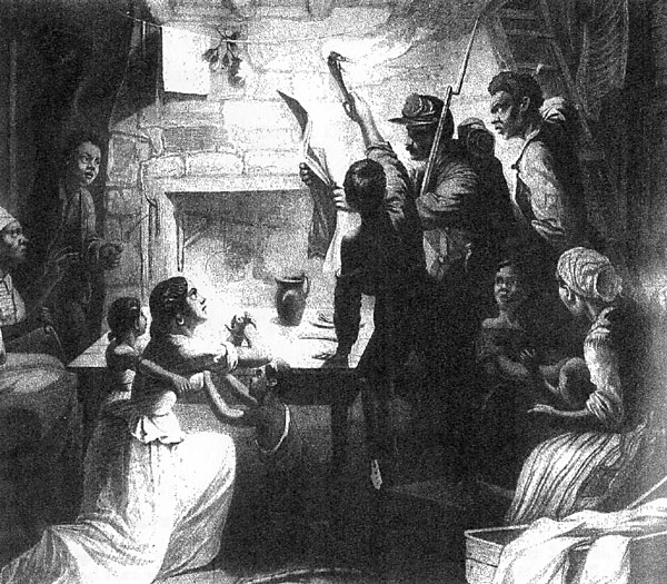 A soldier reads the Emancipation Proclamation to a Slave Family in their cabin