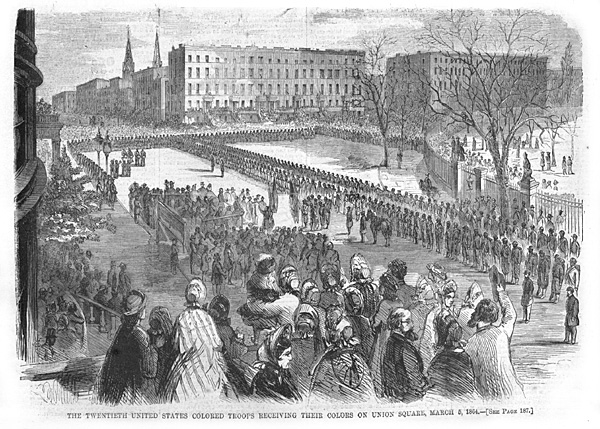 The Twentieth United Stated Colored Troops receiving their colors on Union Square, March 5, 1864